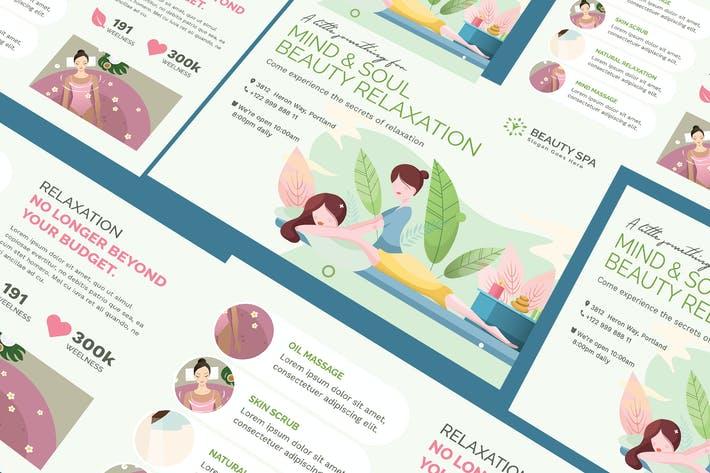 Cover Image For Beauty Spa A5 Business Flyer PSD Template