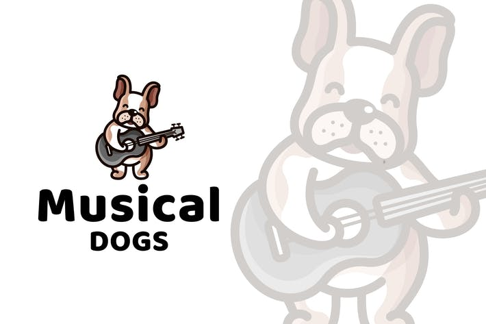 Thumbnail for Musical Dogs Cute Kids Logo Template