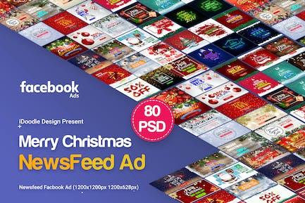 Merry Christmas NewsFeed Banners Ad - 80PSD