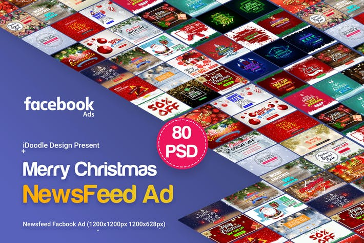 Thumbnail for Merry Christmas NewsFeed Banners Ad - 80PSD