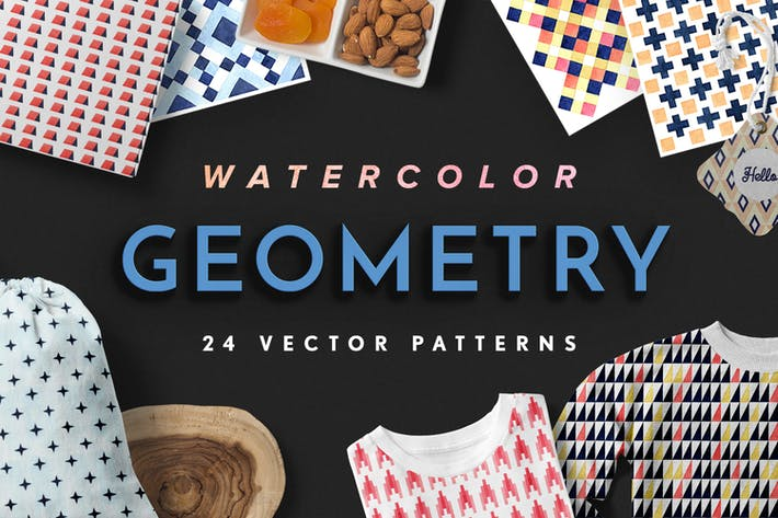 Thumbnail for Geometry Watercolor Vector Patterns