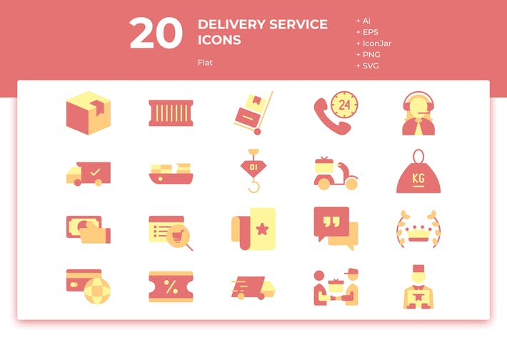 Thumbnail for 20 Delivery Service Icons (Flat)