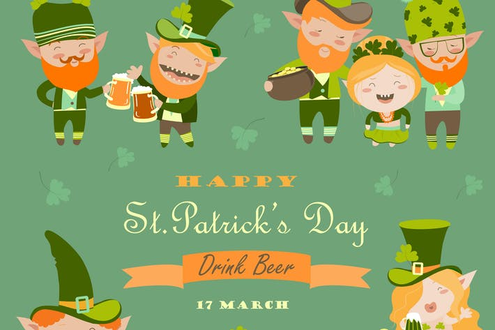 Thumbnail for St. Partick day with leprechaun. Vector collection