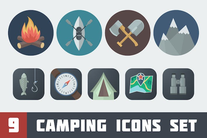 Thumbnail for Flat Camping Icons Set