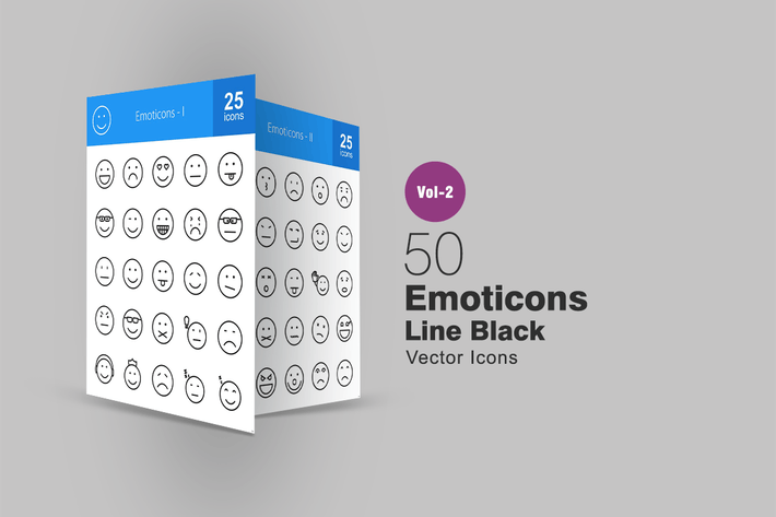 Thumbnail for 50 Emoticons Line Icons