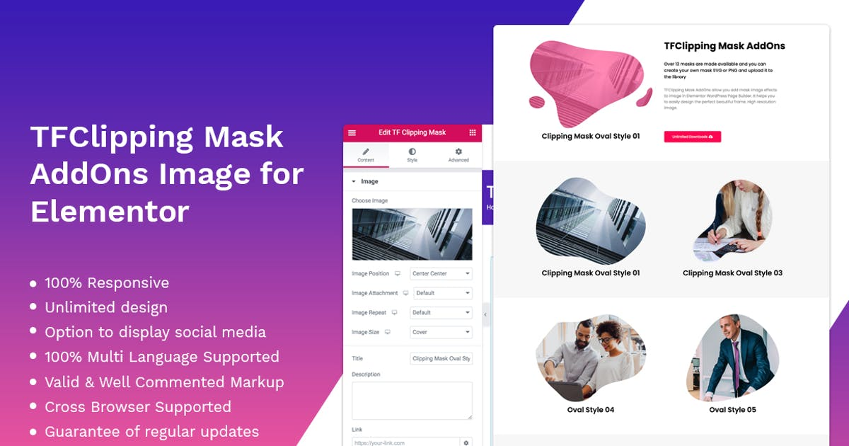 Download Clipping Mask addon - widget for Elementor by themesflat