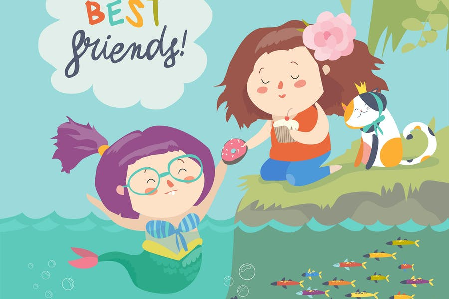 Cute mermaid and girl are best friends. Vector