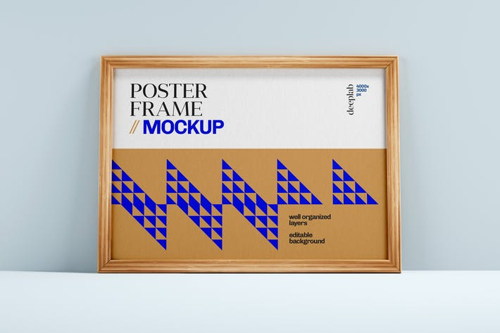 Thumbnail for Poster Mockup With Wood Frame