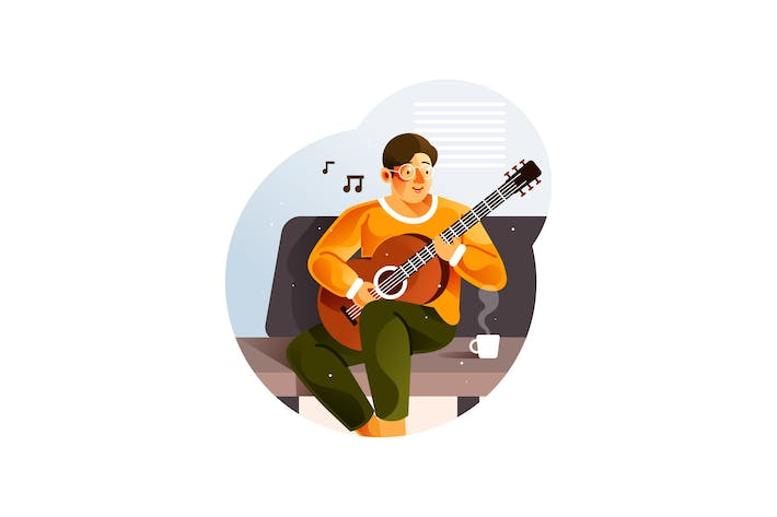 Thumbnail for Man playing guitar while sitting on sofa