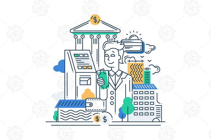Thumbnail for Successful Businessman Line Design Illustration