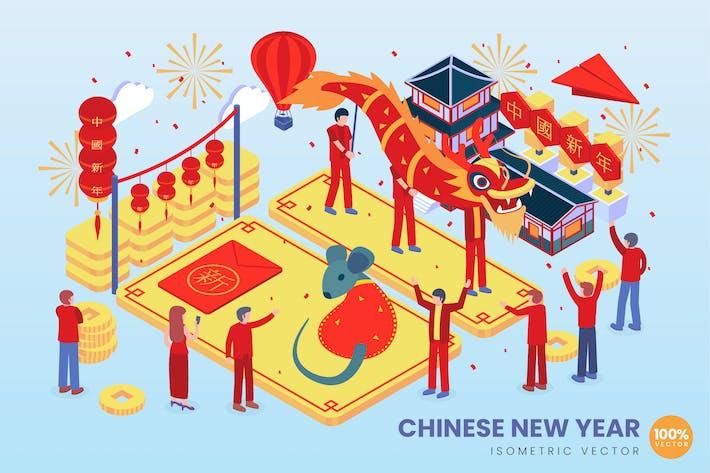 Thumbnail for Isometrische chinesische Neujahrs-Vektor konzept