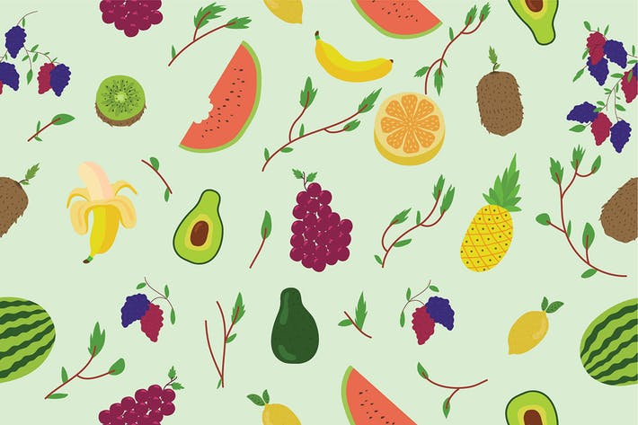 Cover Image For Fruit Pattern - Vector Illustration