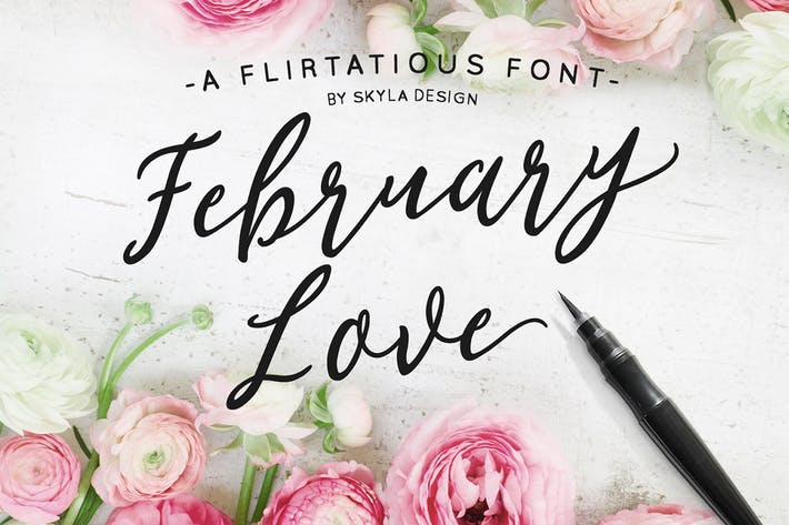 Thumbnail for Flirty feminine font, February Love