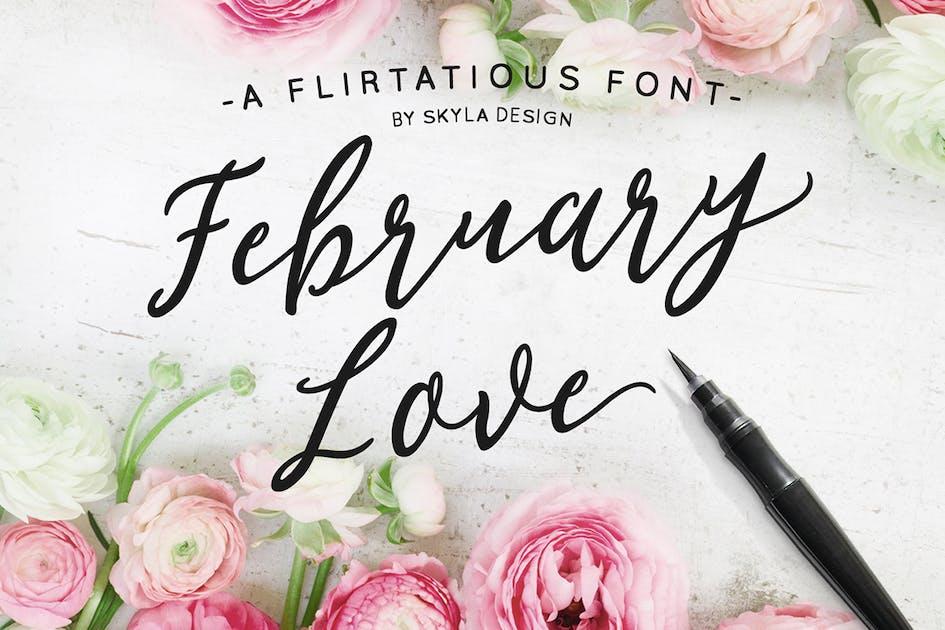 Download Flirty feminine font, February Love by skyladesign