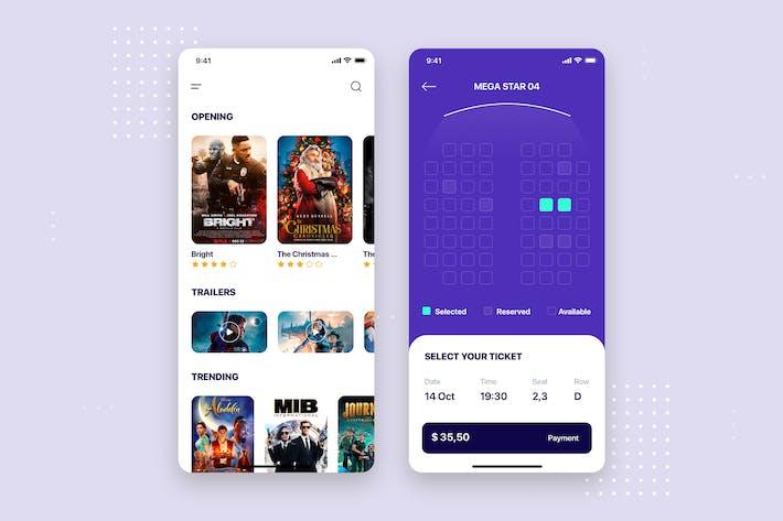 Thumbnail for Movie Cinema Mobile App UI Kit Template