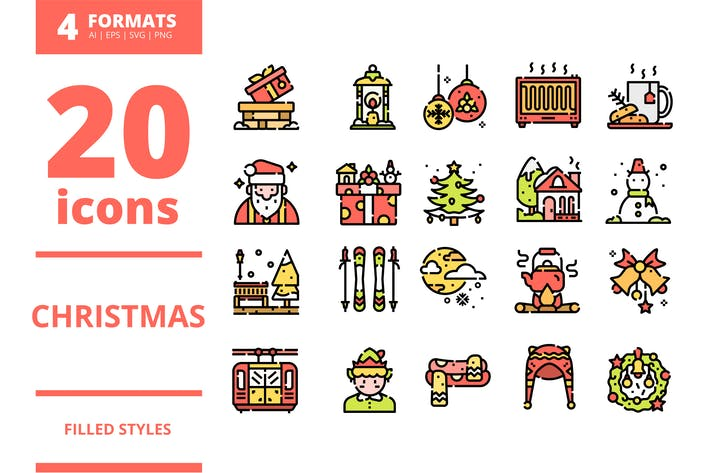 Thumbnail for Christmas Filled icons packs