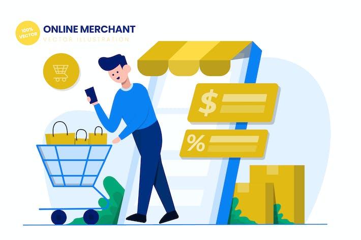 Thumbnail for Online Merchant Flat Vector Illustration