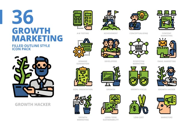 Growth Marketing Filled Outline Style Icon Pack