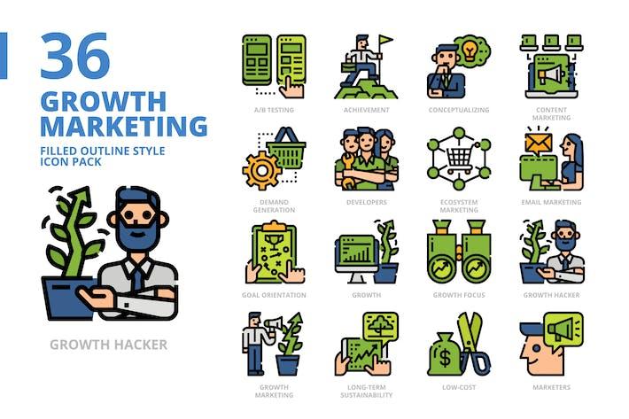 Thumbnail for Wachstumsmarketing gefüllte Kontur Stil Icon Pack