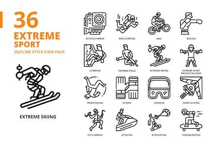 Extremsport Gliederung Stil Icon Set