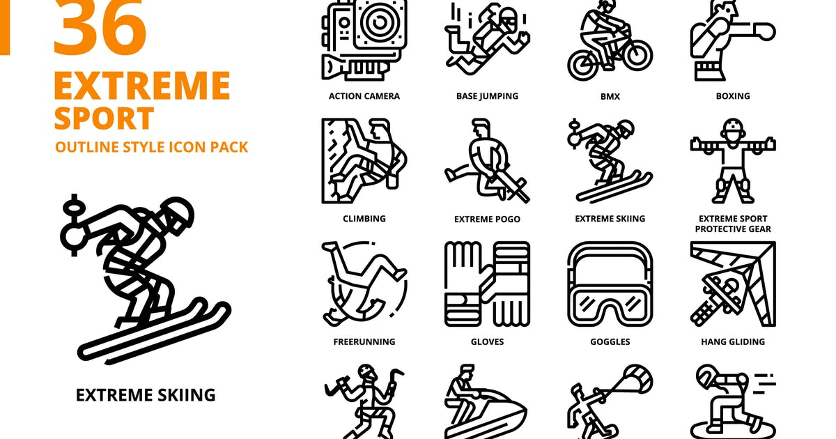 Download Extreme Sport Outline Style Icon Set by monkik