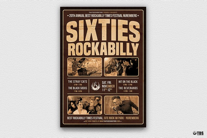 Thumbnail for Sixties Rockabilly Flyer Template