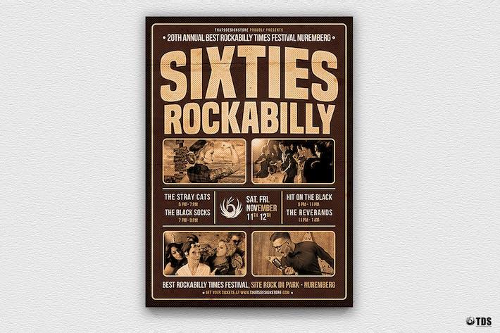 Thumbnail for Plantilla de Folleto de los sesenta Rockabilly