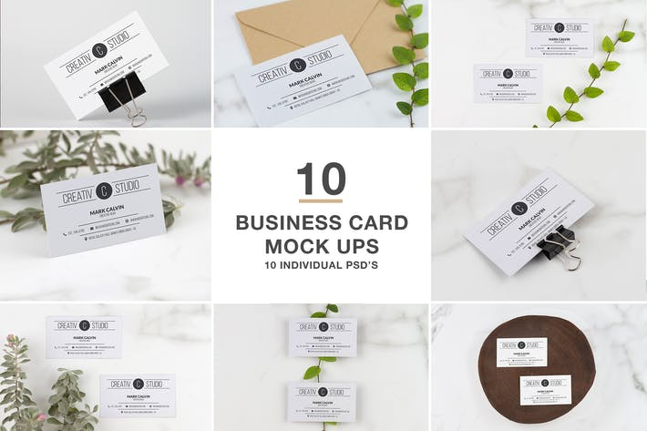 Cover Image For 10 Professional Business Card Mock Up