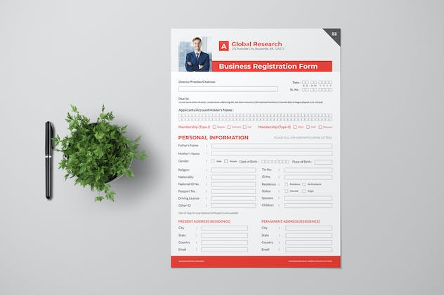 Business Registration Form With Red Accent