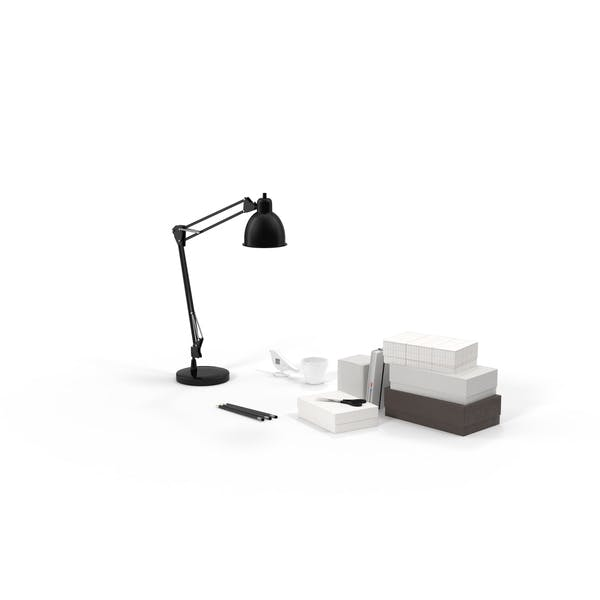 Desk Lamp and Office Supplies