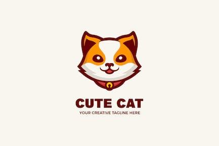 Cute Cat Cartoon Mascot Logo Template