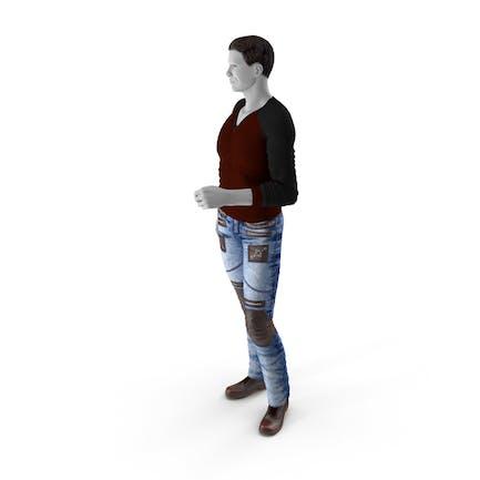 Mann im City-Stil Kleidung Standing Pose