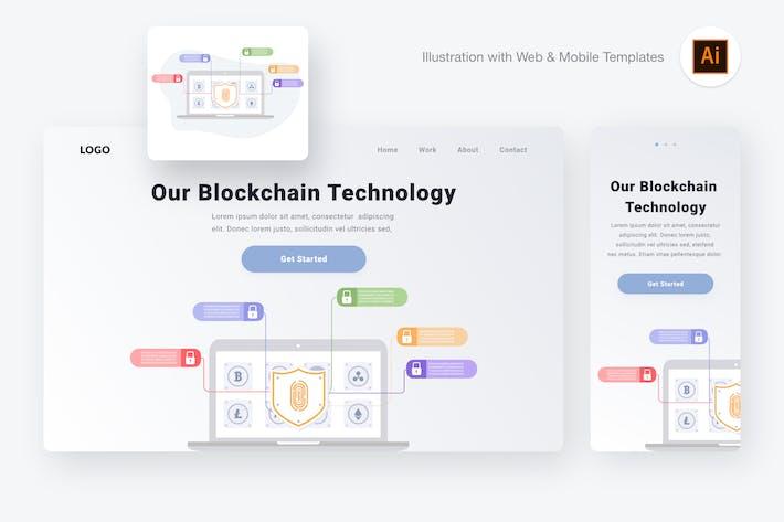 Thumbnail for Blockchain technology illustration (AI, SVG)