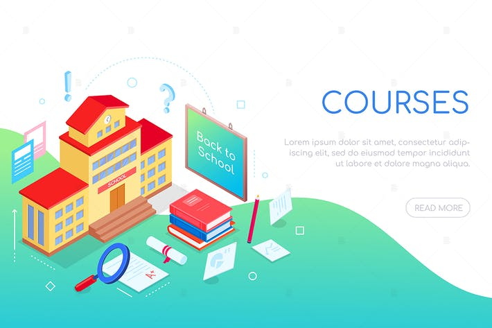 Thumbnail for Education courses - colorful isometric web banner