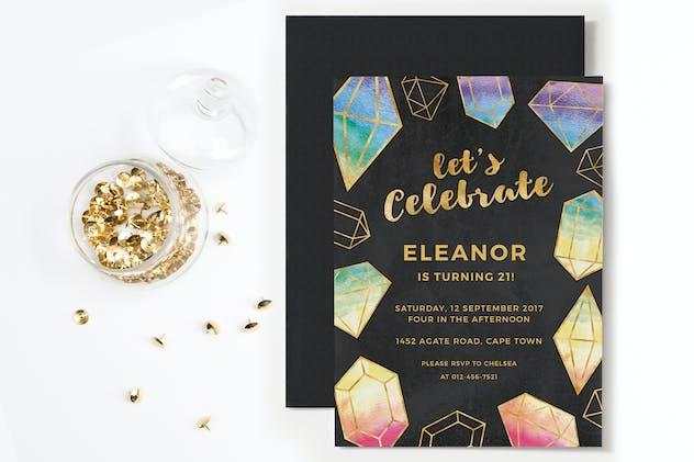 Rainbow Gemstones Party Invitation