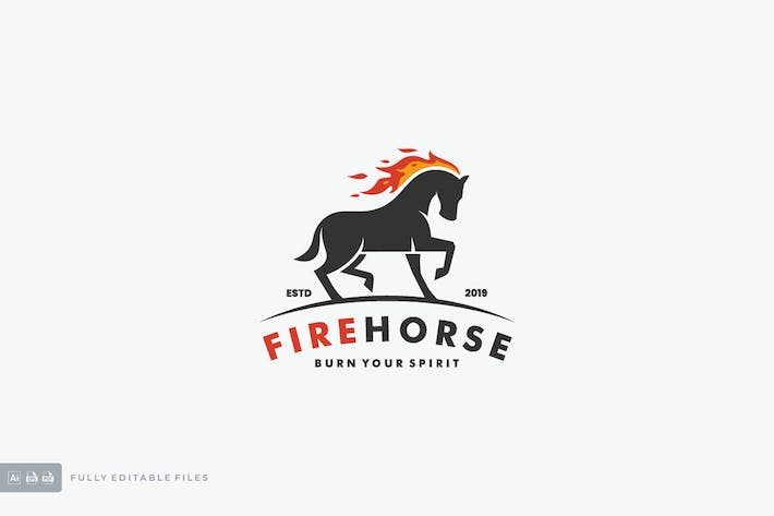 Thumbnail for Fire Horse Logo Template