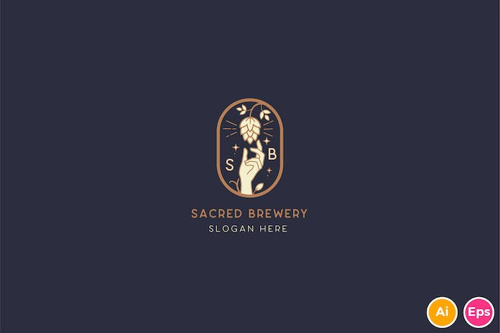 Thumbnail for Sacred Fruit, Hops Brewery Logo Template