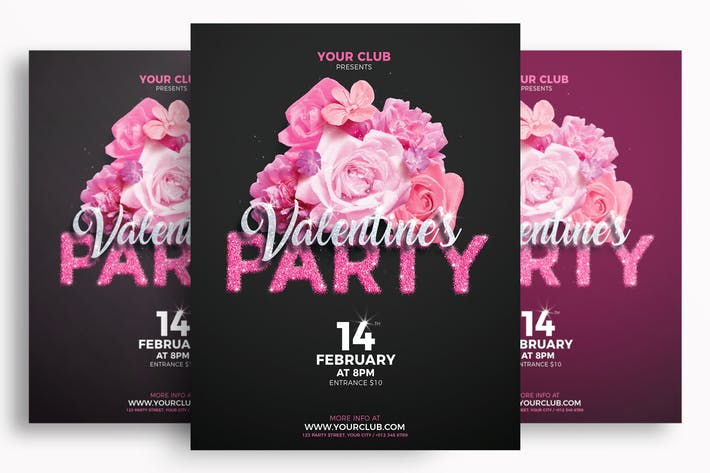 Cover Image For Valentine's Party Flyer Template