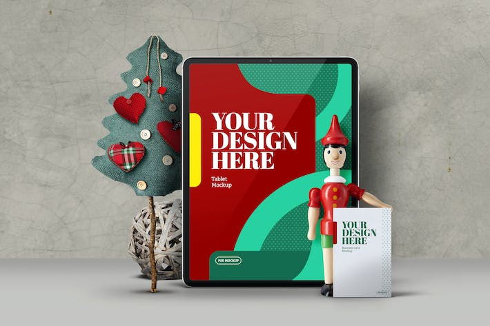 Thumbnail for Christmas Tablet Pro Wood Doll Toy Mockup