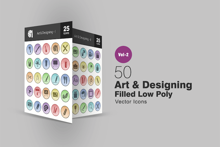 Thumbnail for 50 Art & Designing Filled Low Poly Icons