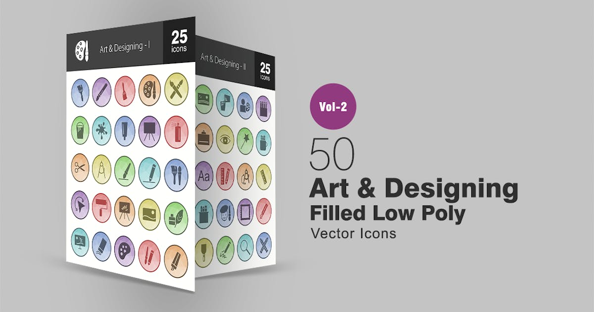 Download 50 Art & Designing Filled Low Poly Icons by IconBunny