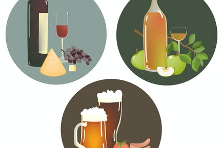 Satz von alkoholischen Getränken und Snacks. Vektor