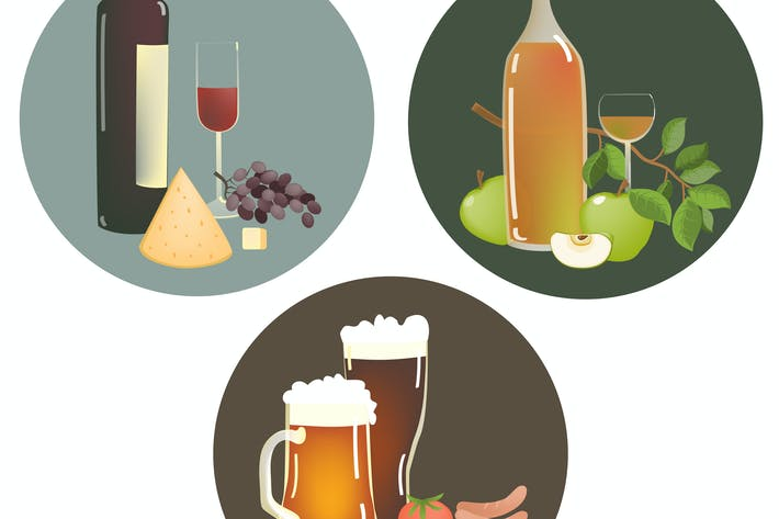 Set of alcohol beverages and snacks. Vector