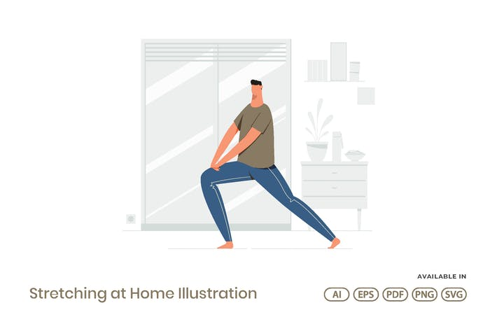 Stretching at Home Illustration