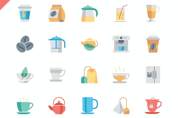 Thumbnail for Simple Set Coffee and Tea Flat Icons
