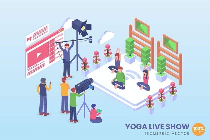Thumbnail for Isometric Yoga Live Show Vector Concept