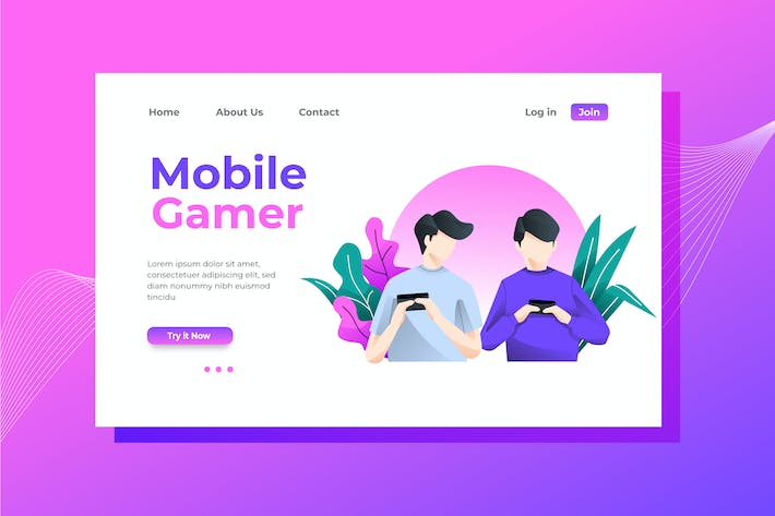 Thumbnail for Mobile Gamer Landing Page Illustration