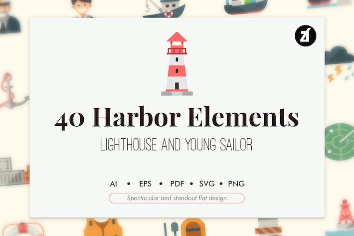 40 Harbor elements in flat design