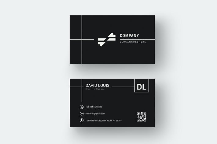 Thumbnail for Black Business Name Card Template