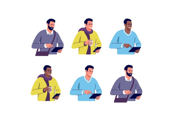 Thumbnail for Set of different men with digital devices
